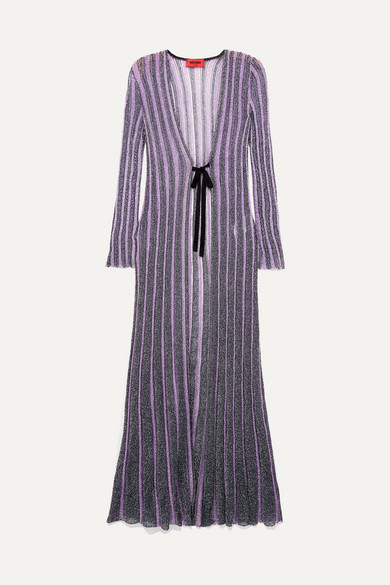 MISSONI | Missoni - Striped Velvet-trimmed Lurex Cardigan - Purple | Goxip