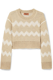 Cropped intarsia hemp and wool-blend sweater