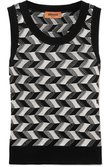 MISSONI | Missoni - Arrow Wool-blend Tank - Black | Goxip