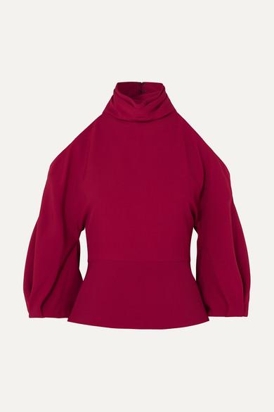 Turtleneck Cold-Shoulder Blouson-Sleeve Stretch-Fabric Top in Crimson
