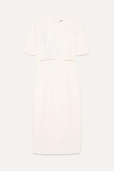 Crepe Popover Sheath Dress in White