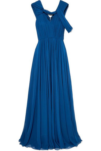 Sleeveless V-Neck Crinkle Chiffon Evening Gown in Navy