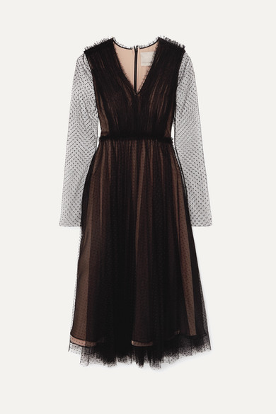 Point D'Esprit Lace Long-Sleeve Ruched Cocktail Dress in Black