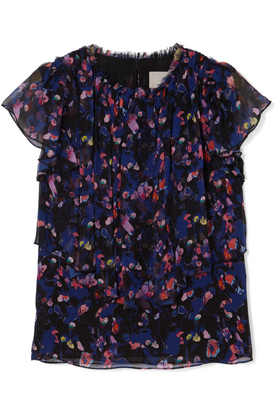 High-Neck Pleated Floral-Print Silk Crinkle Chiffon Top in Purple