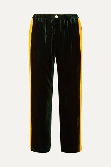 SLEEPY JONES | Sleepy Jones - Marina Grosgrain-trimmed Velvet Pajama Pants - Emerald | Goxip