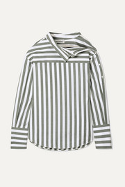 Oversized asymmetric striped cotton-twill shirt