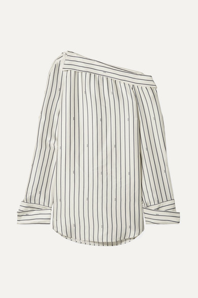 MONSE | Monse - Oversized One-shoulder Pinstriped Satin Shirt - Ivory | Goxip