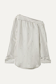 Oversized one-shoulder pinstriped satin shirt