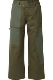 Cotton-drill wide-leg pants