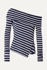 One-shoulder asymmetric striped stretch-jersey sweater