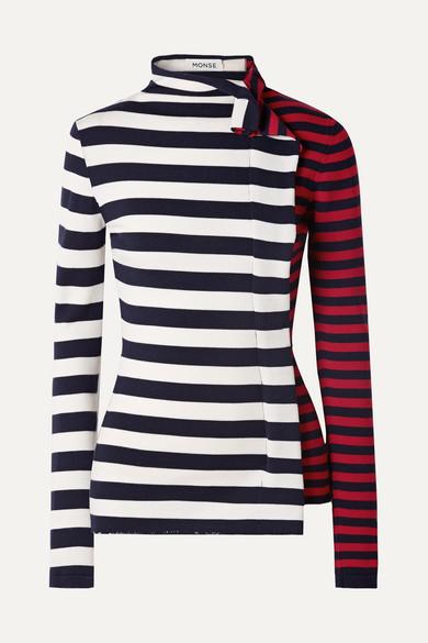Ruffled Striped Wool-Jersey Turtleneck Sweater in Navy