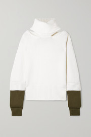 Monse Oversized cutout two-tone wool turtleneck sweater