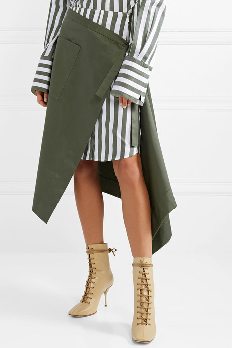 Asymmetric wrap-effect striped voile and cotton-drill midi skirt