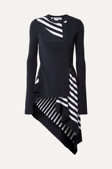 Navy Striped Twisted Cardigan With Flare
