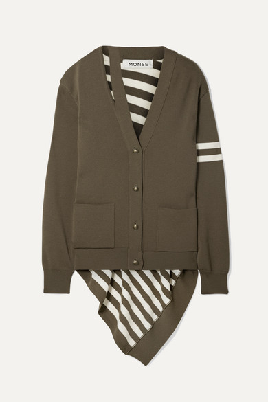 MONSE | Monse - Asymmetric Striped Wool Cardigan - Ivory | Goxip