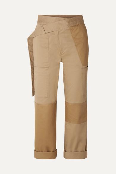 Patchwork Khaki Straight-Leg Cargo Pants in Beige