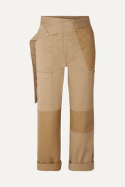 Cotton-blend drill straight-leg pants