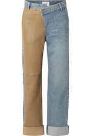 Monse Leather-paneled mid-rise straight-leg jeans