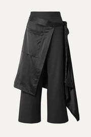 Apron satin-trimmed charmeuse wide-leg pants