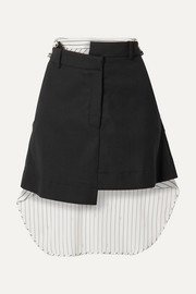 Monse Paneled asymmetric wool-blend drill and striped cotton-voile mini skirt