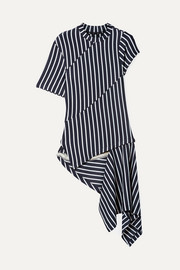 Asymmetric paneled striped jersey top