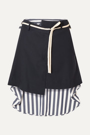 Wool-blend drill and striped voile mini skirt