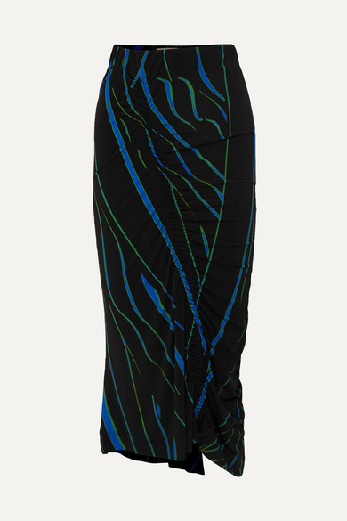 Tracy Ruched Printed Stretch Crepe Midi Skirt by Preen By Thornton Bregazzi