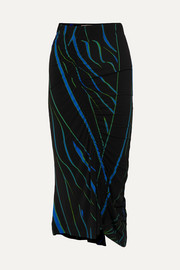 Tracy ruched printed stretch-crepe midi skirt