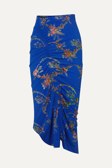 Tracy Ruched Floral Print Stretch Crepe Midi Skirt by Preen By Thornton Bregazzi