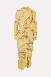 Louise ruched floral-print stretch-crepe dress
