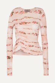 Misha ruched floral-print stretch-crepe top