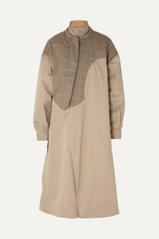 Hannah layered cotton-twill and Prince of Wales checked wool-canvas coat