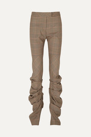 Harriet ruched Prince of Wales checked wool slim-leg pants