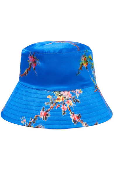 Holly Printed Satin Bucket Hat in Blue