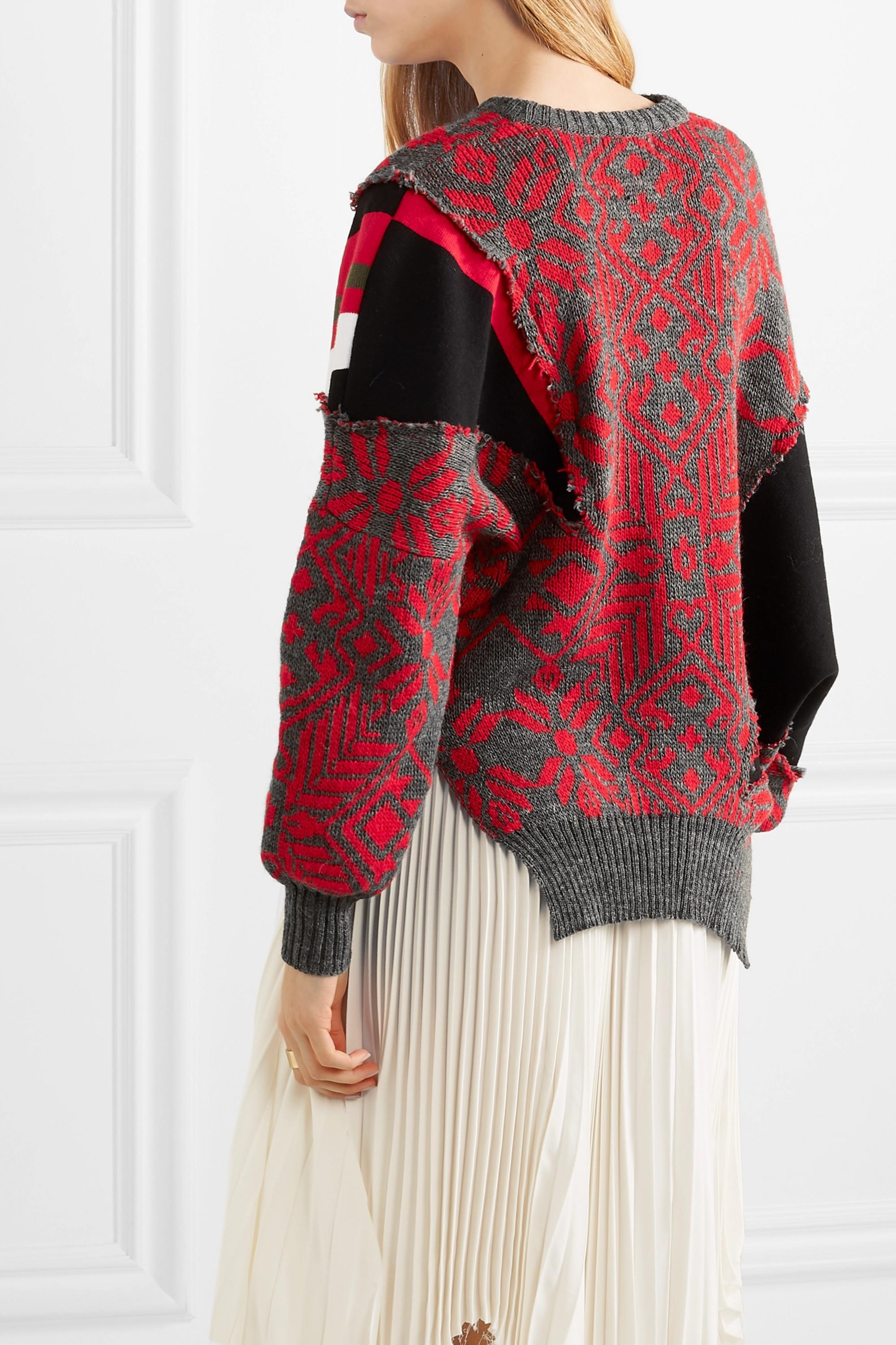 Preen by Thornton Bregazzi Vera paneled intarsia wool-blend sweater