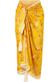 Sunshine tassel-trimmed printed silk crepe de chine pareo