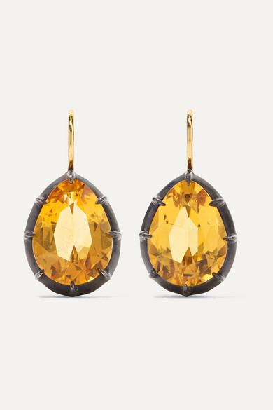 FRED LEIGHTON Collection 18-Karat Gold, Sterling Silver And Citrine Earrings