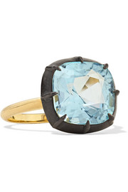 Fred Leighton Collection 18-karat gold, sterling silver and topaz ring