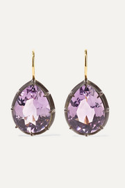 Collection 18-karat gold, sterling silver and amethyst earrings