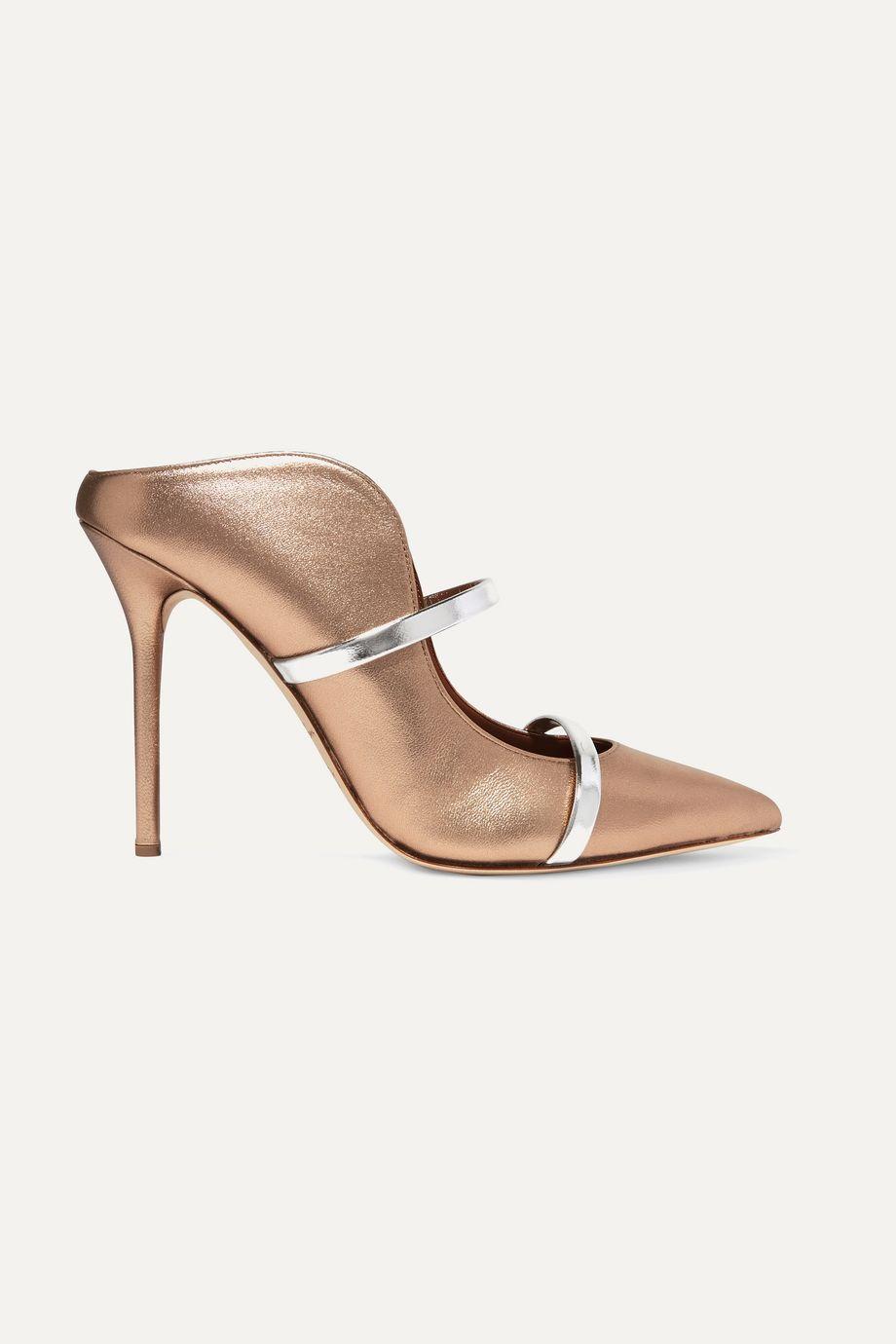 Malone Souliers Maureen 100 金属感皮革穆勒鞋