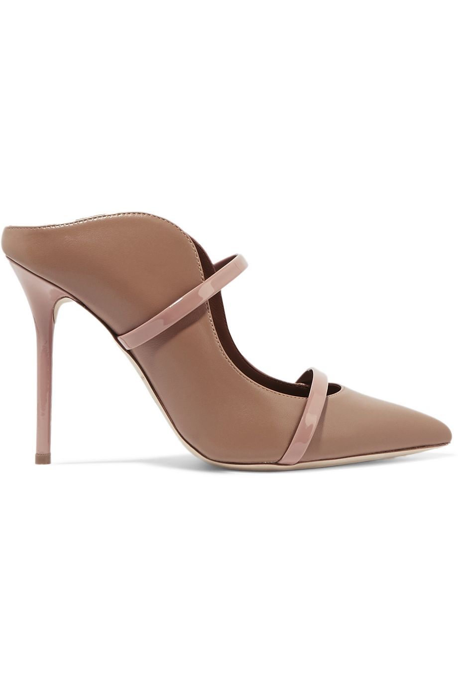Malone Souliers Maureen 100 patent-trimmed leather mules