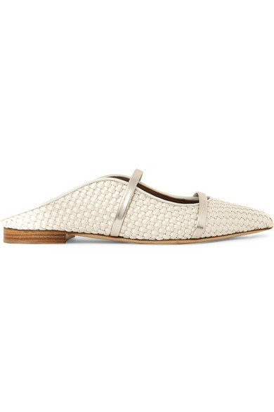 + Emanuel Ungaro Maureen Metallic Leather-Trimmed Woven Satin Point-Toe Flats in Beige