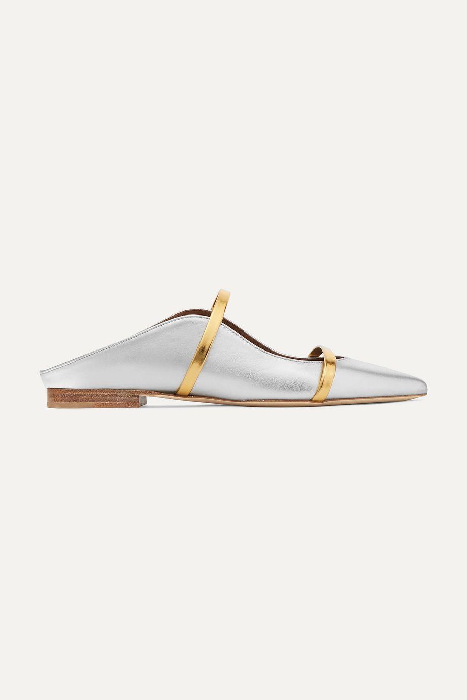 Malone Souliers Maureen metallic leather point-toe flats