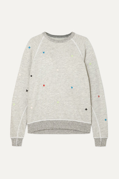 The College Embroidered Distressed Slub Cotton-Blend Jersey Sweatshirt in Light Gray