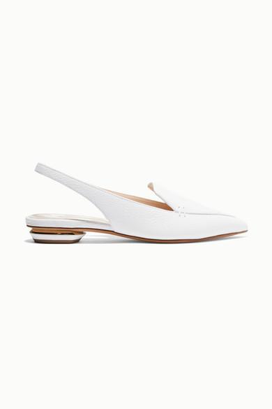 NICHOLAS KIRKWOOD Beya Textured-Leather Slingback Flats in White