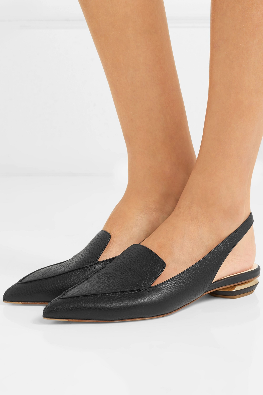 Black Beya textured-leather point-toe