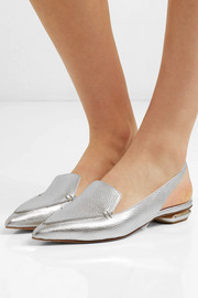 Nicholas Kirkwood Beya metallic textured-leather slingback point-toe flats