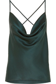 The Jacqueline draped silk-charmeuse camisole