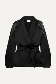 The Kimberly lace-trimmed silk-charmeuse jacket