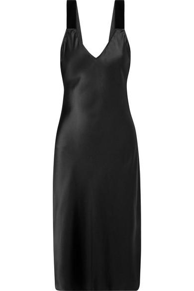 Cami Nyc THE MIKI VELVET-TRIMMED SILK-CHARMEUSE DRESS